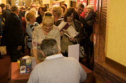 queueing fro Gervase Phinn to sign books and cd's