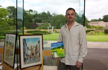 "Matthew with some of his watercolours at the ""Yorkshire Journey"" book launch"