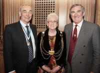 With the Lord Mayor of Leeds, Councillor Judith Elliot and her Consort at the Leeds Civic Hall, following my talk in support of her charities.
