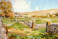 watercolour of Yorkshire Dales with hills, farm and gate