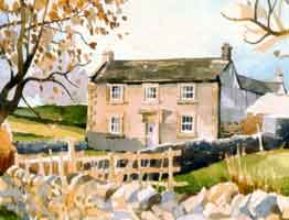 watercolour painting of a Dales farmhouse